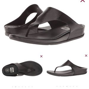 f45a637321fe FitFlop Banda Perf Black Leather Thong Sandals. FitFlop Banda Perf Black  Leather Thong Sandals.  30  130. Fitflop Via Bar Sandals Luxe Leather 209- 001 Sz 8